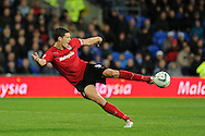 Cardiff city's Mark Hudson © has a shot. NPower championship, Cardiff city v Birmingham city at the Cardiff city Stadium in Cardiff, South Wales on Tuesday 2nd October 2012.   pic by  Andrew Orchard, Andrew Orchard sports photography,