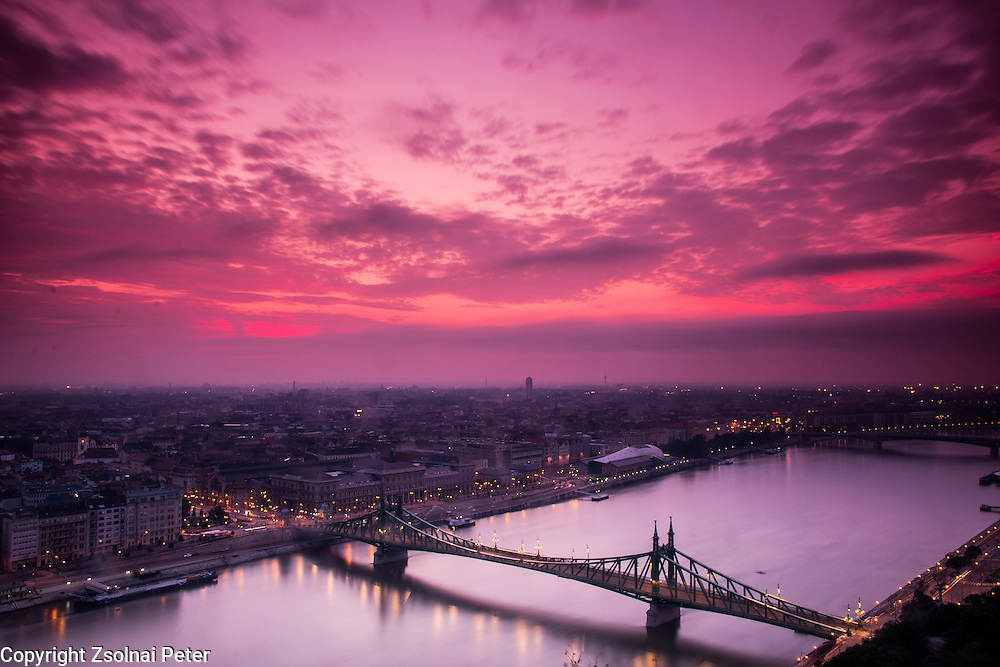 Sunrise above Budapest seen from the Geller-hill, Budapest, Hungary.