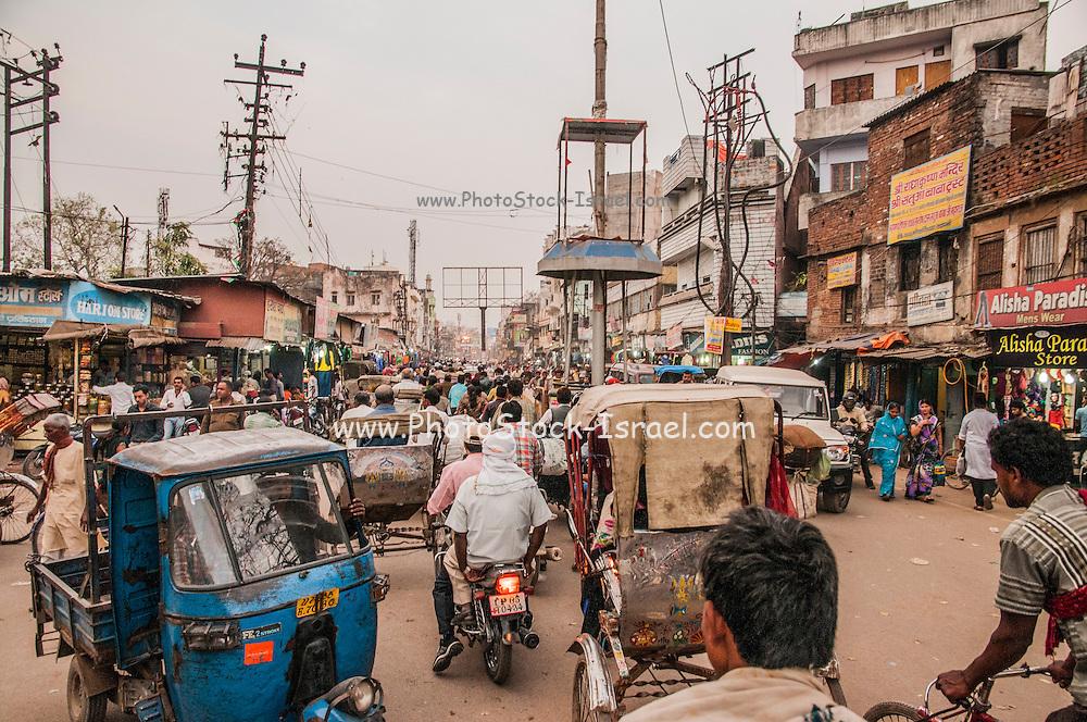 India, Uttar Pradesh, Varanasi a bustling street in the city centre