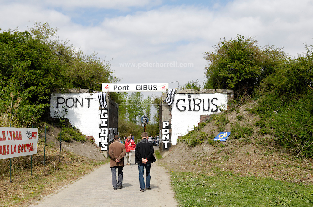 France, April 13th 2014: Spectators wait for the Paris Roubaix 2014 race near Pont Gibus, Wallers.