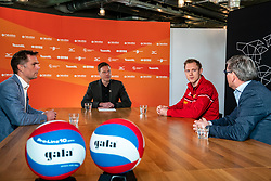 General manager Nevobo Guido Davio, presenter Etienne Verhoeff, Daan van Haarlem, professional vv Utrecht and Martin Reesink club president Apollo 8 during the talk show of the Dutch volleyball association. The association wants to start a professionalization process with which they want to strengthen recreational sport in the coming years on March 8, 2021 in Utrecht