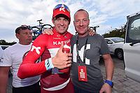 Thorsten SMIDT (Ger) and KRISTOFF Alexander (NOR), Sportsdirector Team Katusha (Rus) Birthday Celebration, during the 7th Tour of Oman 2016, Stage 3, Al Sawadi Beach - Naseem Park (176,5Km), on February 18, 2016 - Photo Tim de Waele / DPPI