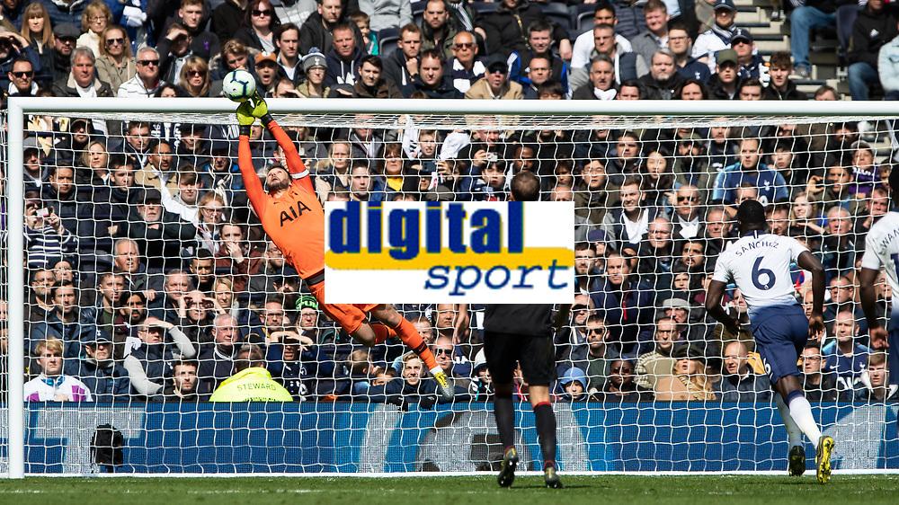 Football - 2018 / 2019 Premier League - Tottenham Hotspur vs. Huddersfield Town<br /> <br /> Hugo Lloris (Tottenham FC) saves from the Huddersfield Town free kck at The Tottenham Hotspur Stadium.<br /> <br /> COLORSPORT/DANIEL BEARHAM