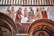 Pictures & images of the Byzantine fresco panels in the Gelati Georgian Orthodox Church of the Virgin, 1106, depicting a scene from the Passion of Christ when he is being judged by Pontius Pilot.  The medieval Gelati monastic complex near Kutaisi in the Imereti region of western Georgia (country). A UNESCO World Heritage Site. .<br /> <br /> Visit our MEDIEVAL PHOTO COLLECTIONS for more   photos  to download or buy as prints https://funkystock.photoshelter.com/gallery-collection/Medieval-Middle-Ages-Historic-Places-Arcaeological-Sites-Pictures-Images-of/C0000B5ZA54_WD0s<br /> <br /> Visit our REPUBLIC of GEORGIA HISTORIC PLACES PHOTO COLLECTIONS for more photos to browse, download or buy as wall art prints https://funkystock.photoshelter.com/gallery-collection/Pictures-Images-of-Georgia-Country-Historic-Landmark-Places-Museum-Antiquities/C0000c1oD9eVkh9c