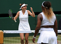 Tennis - 2019 Wimbledon Championships - Week Two, Saturday (Day Twelve)<br /> <br /> Women's Singles, Final: Serena Williams (USA) vs. Simona Halep (ROU)<br /> <br /> Simona Halep can't believe she has won the match, on Centre Court.<br /> <br /> COLORSPORT/ANDREW COWIE