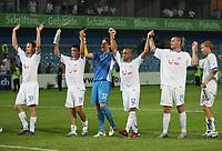 Die Zuercher mit Torschuetze Alexandre Alphonse bedanken sich bein den Fans © Urs Bucher/EQ Images