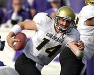 Colorado quarterback Joel Klatt looks for running room against Kansas State in the third quarter at KSU Stadium in Manhattan, Kansas, October 29, 2005.  The Buffaloes beat K-State 23-20.