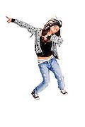Young female teen modern dancer On black Background