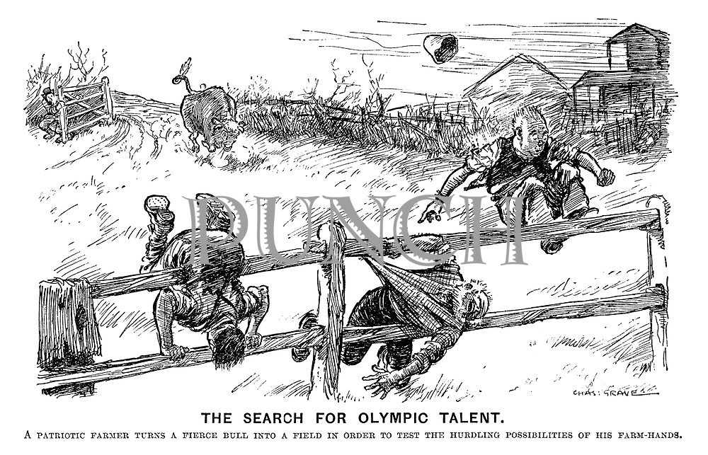 The search for olympic talent. A patriotic farmer turns a fierce bull into a field in order to test the hurdling possibilities of his farm-hands.