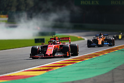 SPA-FRANCORCHAMPS, Aug. 31, 2019  Charles Leclerc(Front) of Ferrari drives during the Qualifying of the Formula 1 Belgian Grand Prix at Spa-Francorchamps Circuit, Belgium, Aug. 31, 2019. (Credit Image: © Zheng Huansong/Xinhua via ZUMA Wire)