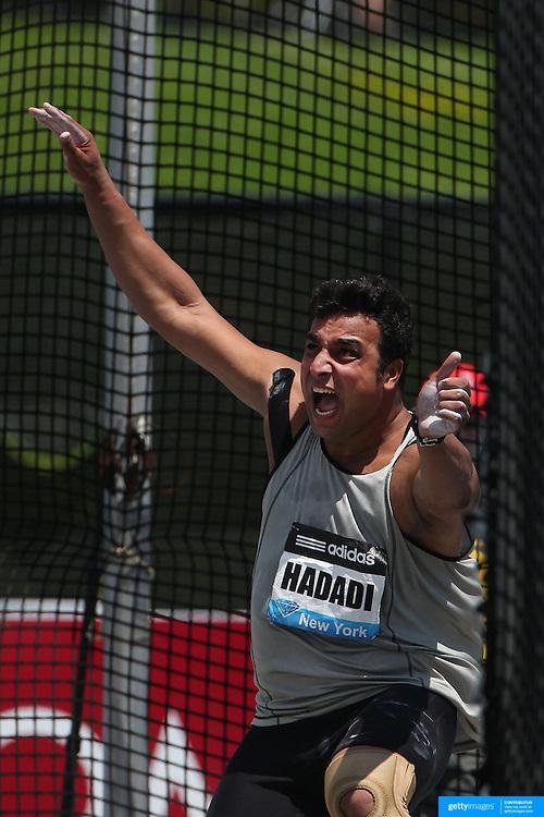 Ehsan Hadadi, Iran, in action during the Men's Discus competition during the Diamond League Adidas Grand Prix at Icahn Stadium, Randall's Island, Manhattan, New York, USA. 14th June 2014. Photo Tim Clayton