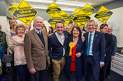 Pictured: <br /> Scottish Liberal Democrat candidate for Edinburgh West, Christine Jardine launched her campaign today for the Weastminster Parliament. She wase joined by former leader Menzies Campbell, MSP Alex Cole-Hamilton and Scottish Liberal Democrat leader Willie Rennie.<br /> <br /> Ger Harley   EEm 6 May2017