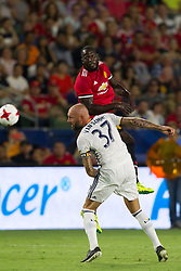 July 15, 2017 - Carson, California, U.S - Manchester United F Romelo Lukaku (9) and Los Angeles Galaxy D Jelle Van Damme (3) in action  during the summer friendly between Manchester United and the Los Angeles Galaxy at the StubHub Center. (Credit Image: © Brandon Parry via ZUMA Wire)