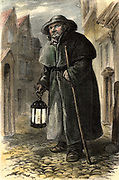 London nightwatchman, or Charlie, who patrolled the streets at night in the 18th century.  He carries a staff and a candle lantern.  Lithograph c1870.