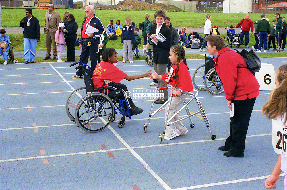 Young competitors with disabilities taking part in Mini games sports event held at Stoke Mandeville Stadium,