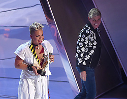 LOS ANGELES - AUGUST 27: Pink (L) accepts the Michael Jackson Video Vanguard award from Ellen DeGeneres on the 2017 'MTV Video Music Awards' at The Forum on August 27, 2017 in Los Angeles, California. (Photo by Frank Micelotta/PictureGroup)