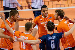Thijs Ter Horst of Netherlands, Fabian Plak of Netherlands, Wessel Keemink of Netherlands in action during the CEV Eurovolley 2021 Qualifiers between Croatia and Netherlands at Topsporthall Omnisport on May 16, 2021 in Apeldoorn, Netherlands