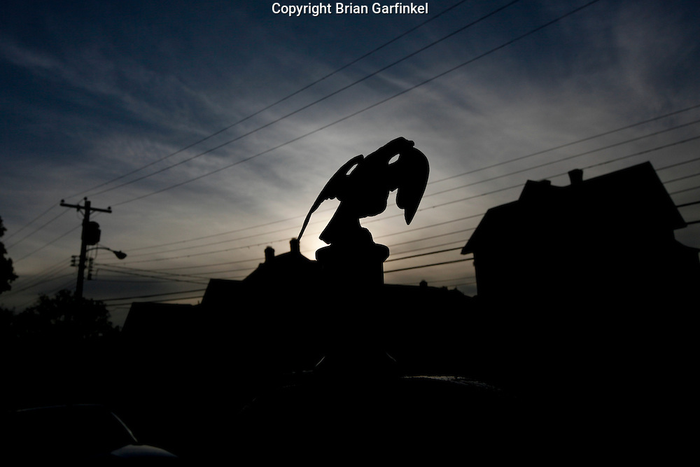 An eagle figure at twilight with houses and utility lines in the background