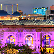Union Station in the foreground, Kauffman Center for the Performing Arts and Skystation implements in background, downtown Kansas City, Missouri.