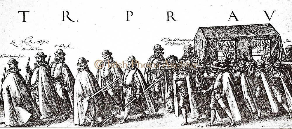 Funeral of the father of the country.  part of the very detailed presentation of the funeral procession of Prince William 1, as on August 3, 1584 in Delft.  engraved by Hendrik Goltzius .