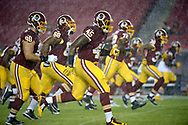 Washington Redskins players warmup before an NFL preseason football game against the Tampa Bay Buccaneers in Tampa, Fla., Wednesday, Aug. 31, 2016. (AP Photo/Phelan M. Ebenhack)