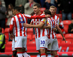 Stoke City's Sam Vokes (No 10) celebrates after he scores his sides first goal.