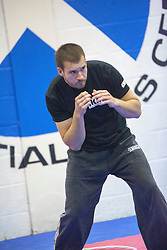 Student.s warming upStef Noij, KMG Instructor from the Institute Krav Maga Netherlands, takes the IKMS G Level Programme seminar today at the Scottish Martial Arts Centre, Alloa.