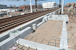 Platform Footings, Bigelow Tea Headquarters in distance. Construction Progress Photography of the Railroad Station at Fairfield Metro Center - Site visit 9 of once per month Chronological Documentation.