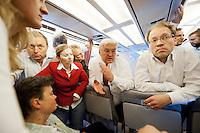 17 JUN 2009, AIRSPACE/UKRAINE:<br /> Frank-Walter Steinmeier, SPD, Bundesaussenminister, im Gespraech mit Journalisten, auf dem Rueckflug von Kiew nach Warschau, in einem Airbus A310 der Flugbereitschaft der bundeslauftwaffe, Luftraum uber der Ukraine<br /> IMAGE: 20090617-01-172<br /> KEYWORDS: travel, Flugzeug, plane