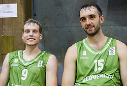 Jaka Blazic of Slovenia and Mirza Begic of Slovenia after the friendly match between National teams of Slovenia and Republic of Macedonia for Eurobasket 2013 on July 28, 2013 in Litija, Slovenia. Slovenia defeated Macedonia 63-54. (Photo by Vid Ponikvar / Sportida.com)