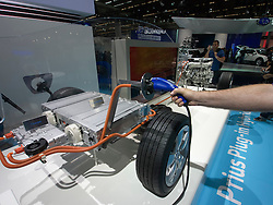 Demonstration of Toyota Prius Hybrid engine design at Frankfurt Motor Show or IAA 2011 Germany