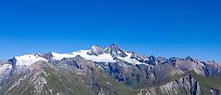 THEMENBILD - Panoramaansicht Grossglockner (Glockner), höchster Berg Österreichs (3798m) und umliegende Gipfel der Glocknergruppe, im Tal die Gemeinde Kals am Grossglockner mit den Seitentälern, Dorfertal, Teischnitztal, Ködnitztal und Lesachalmtal im Sommer, am Mittwoch 04. September 2019, Kals am Großglockner, Österreich // Panorama view Grossglockner (Glockner), highest mountain in Austria (3798m) and surrounding peaks of the Glocknergruppe, in the valley the municipality Kals am Grossglockner with side valleys, Dorfertal, Teischnitztal, Ködnitztal and Lesachalmtal in summer, on Wednesday 04. September 2019, Kals am Großglockner, Austria. EXPA Pictures © 2019, PhotoCredit: EXPA/ Johann Groder