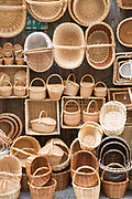 Wicker baskets as gifts and souvenirs in shop in Calle Marques del Arco, Segovia, Spain