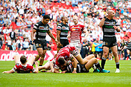 Hull FC loose forward and captain Gareth Ellis (13) shows a fist as Hull FC win during the Ladbrokes Challenge Cup Final 2017 match between Hull RFC and Wigan Warriors at Wembley Stadium, London, England on 26 August 2017. Photo by Simon Davies.