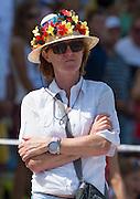 Plovdiv, BULGARIA.  Straw Hat and Garland, German team supporter. 2015 FISA U23 Championships. 26.07.2015. Sunday, Finals Day. [Mandatory Credit: Peter SPURRIER/Intersport Images]