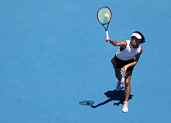 MELBOURNE, Jan. 22, 2018  Hsieh Su-wei of Chinese Taipei serves during the women's singles fourth round match against Angelique Kerber of Germany at Australian Open 2018 in Melbourne, Australia, Jan. 22, 2018. Kerber won 2-1. (Credit Image: © Bai Xuefei/Xinhua via ZUMA Wire)