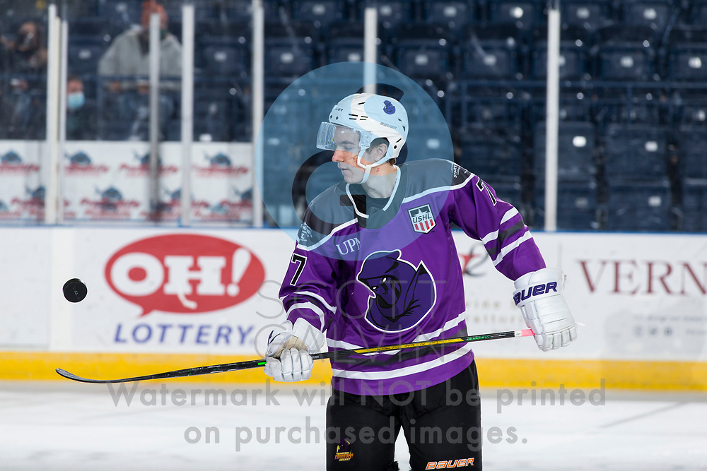The Youngstown Phantoms defeat Team USA U-18 5-2 at the Covelli Centre on January 30, 2021.<br /> <br /> Austen May, defenseman, 7