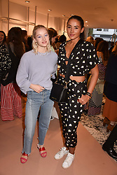 Left to right, Maddi Waterhouse and Cora Corre at launch of Bimba Y Lola, 295 Brompton Road, London England. 26 April 2018.