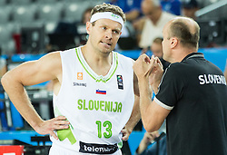 Miha Zupan of Slovenia and Jure Zdovc, head coach of Slovenia during basketball match between Slovenia vs Netherlands at Day 4 in Group C of FIBA Europe Eurobasket 2015, on September 8, 2015, in Arena Zagreb, Croatia. Photo by Vid Ponikvar / Sportida