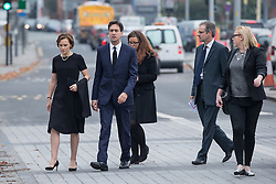 © Licensed to London News Pictures . 20/09/2014 . Manchester , UK . Justine Miliband (nee Thornton ) and Ed Miliband . Arrivals at the funeral of Heywood and Middleton MP Jim Dobbin at Salford Cathedral today (Saturday 20th September 2014) . Photo credit : Joel Goodman/LNP