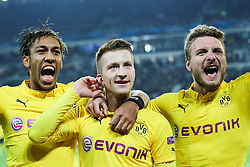 24.02.2015, Veltins Arena, Turin, ITA, UEFA CL, Juventus Turin vs Borussia Dortmund, Achtelfinale, Hinspiel, im Bild l-r: Torjubel von Pierre-Emerick Aubameyang #17 (Borussia Dortmund), Marco Reus #11 (Borussia Dortmund) und Ciro Immobilie #9 (Borussia Dortmund) // during the UEFA Champions League Round of 16, 1st Leg match between between Juventus Turin and Borussia Dortmund at the Veltins Arena in Turin, Italy on 2015/02/24. EXPA Pictures © 2015, PhotoCredit: EXPA/ Eibner-Pressefoto/ Kolbert<br /> <br /> *****ATTENTION - OUT of GER*****