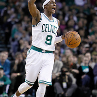 04 March 2012: Boston Celtics point guard Rajon Rondo (9) sets the offense as he brings the ball up court during the Boston Celtics 115-111 (OT) victory over the New York Knicks at the TD Garden, Boston, Massachusetts, USA.