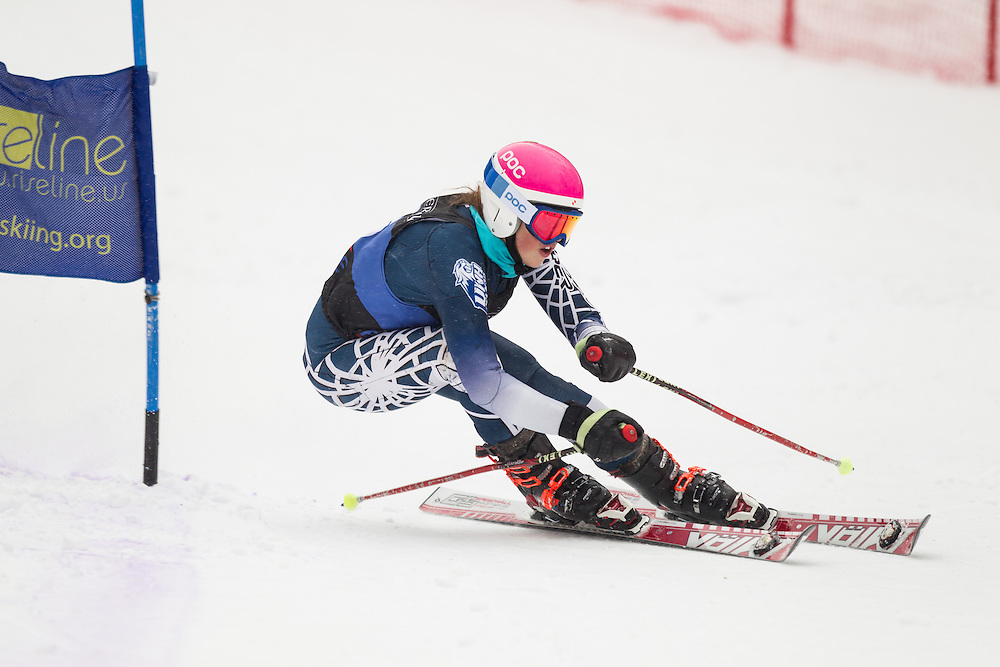 Kelly Anne DiNapoli of the University of New Hampshire, skis during the second run of the women's giant slalom at Jiminy Peak on February 15, 2014 in Hancock, MA. (Dustin Satloff/EISA)