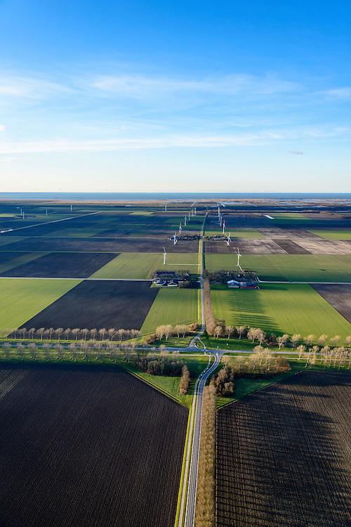 Nederland, Flevoland, 28-02-2016; Provinciale weg 706, Vogelweg. Kruising met Reigerweg en Roerdompweg.<br /> De beplanting van de Vogelweg is een voorbeeld van de landschapsarchitectuur van Flevoland.<br /> Vogleweg, example of landscape architecture in the new polder Flevoland.<br /> <br /> luchtfoto (toeslag op standard tarieven);<br /> aerial photo (additional fee required);<br /> copyright foto/photo Siebe Swart