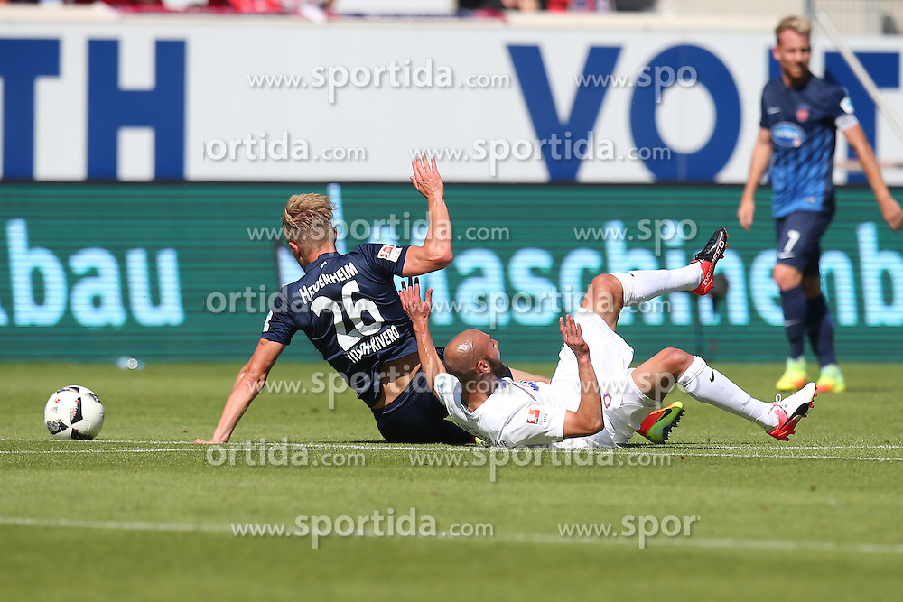 07.08.2016, Voith Arena, Heidenheim, GER, 2. FBL, 1. FC Heidenheim vs FC Erzgebirge Aue, 1. Runde, im Bild Marcel Titsch-Rivero ( 1.FC Heidenheim ) Philipp Riese ( FC Erzgebirge Aue ) // during the 2nd German Bundesliga 1st round match between 1. FC Heidenheim and FC Erzgebirge Aue Voith Arena in Heidenheim, Germany on 2016/08/07. EXPA Pictures © 2016, PhotoCredit: EXPA/ Eibner-Pressefoto/ Langer<br /> <br /> *****ATTENTION - OUT of GER*****