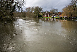 © Licensed to London News Pictures. 05/02/2021. Sonning, UK. Flood water approached properties in the village of Sonning in Berkshire, where the River Thames has broken its banks.  Large parts of the UK experience more wet conditions which is expected to bring further flooding. Photo credit: Ben Cawthra/LNP
