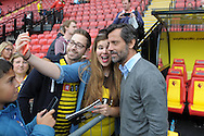 Quique Sanchez Flores, the Watford manager poses for a selfie with a Watford supporter before k/o. Barclays Premier League, Watford v Southampton at Vicarage Road in London on Sunday 23rd August 2015.<br /> pic by John Patrick Fletcher, Andrew Orchard sports photography.