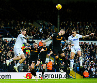 Leeds United's Kalvin Phillips competes in the air with Hull City's Jordy de Wijs<br /> <br /> Photographer Alex Dodd/CameraSport<br /> <br /> The EFL Sky Bet Championship - Leeds United v Hull City - Saturday 29th December 2018 - Elland Road - Leeds<br /> <br /> World Copyright © 2018 CameraSport. All rights reserved. 43 Linden Ave. Countesthorpe. Leicester. England. LE8 5PG - Tel: +44 (0) 116 277 4147 - admin@camerasport.com - www.camerasport.com