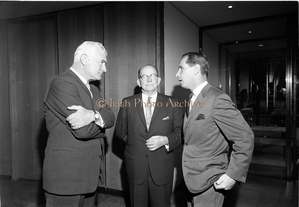 18/09/1967<br /> 09/18/1967<br /> 18 September 1967<br /> Mr Paul A. Fabry, Managing Director, International House, New Orleans, Reception for New Orleans Delegation at the United States Embassy, Dublin. Image shows (l-r): Ambassador Raymond Richard Guest; Thomas Q. Winkler, Vice President of International House and President, Winkler and Co. (Insurance) and Dr Paul A. Fabry, Managing Director, International House.