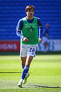 Cardiff City's Tom Sang (28) during the pre-match warm-up before the EFL Sky Bet Championship match between Cardiff City and Nottingham Forest at the Cardiff City Stadium, Cardiff, Wales on 2 April 2021.